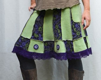 Women's Upcycled Clothing Wool Sweater A-Line Skirt w/ Lace, Embroidery & Pockets Purple Green Pixie Organic Cotton Bamboo Jersey Knit OOAK