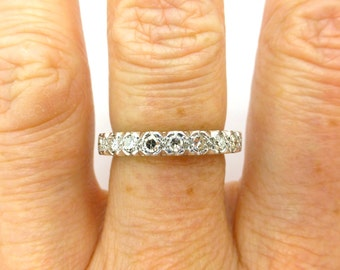 Vintage Diamond wedding band 18ct 18K white gold 9 stone Half hoop Eternity annversary ring Art Deco style