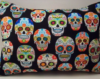 Sugar Skulls Lavender Buckwheat Travel Pillow - Dia de los Muertos - Day of the Dead - Neck Roll and Lumbar Pillow - 13 1/2  X 8 1/2 inches
