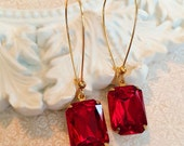 Valentine's Gift for Her - Ruby Earrings - Art Deco Jewelry - Downton Abbey Inspired - DORSET Ruby