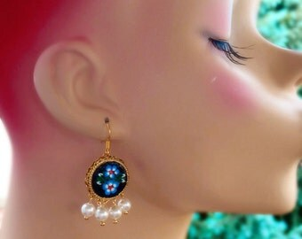 Black Renaissance Earrings - Micro Mosaic - Fall Fashion - Pearl - ONE of a KIND