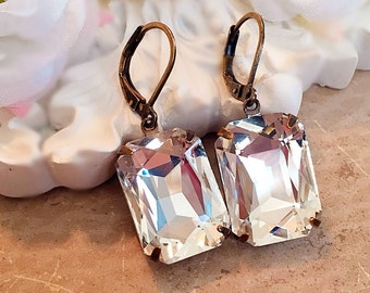 Art Deco Earrings - White Diamond Earrings - Christmas Gift for Her - Holiday Party Jewelry - Vintage Bridal Earrings -  WINDSOR Crystal