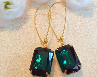 Emerald Earrings - Green Earrings - Art Deco Jewelry- Victorian Earrings - DORSET Emerald