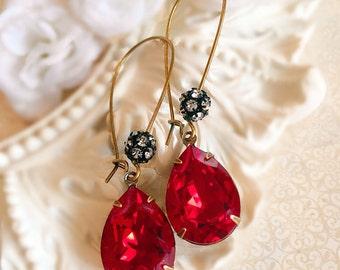 Bridesmaid Gifts - Red Earrings - Crystal Earrings - Ruby Earrings - Jewelry Gifts - July Birthstone Gift - Bridesmaid Earrings - COVET Ruby