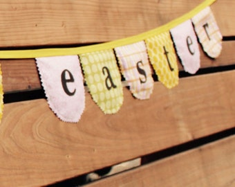 Happy easter fabric bunting, Spring Decor, Easter decoration, Easter Decor, Easter banner, Easter party