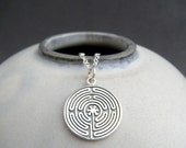 sterling silver labyrinth necklace. zen yoga yogi jewelry. labryinth. spiritual path journey pendant mysticism geometric maze charm 5/8""