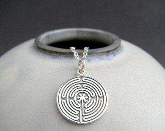 "sterling silver labyrinth necklace. zen yoga yogi jewelry. labryinth. spiritual path journey pendant mysticism geometric maze charm 5/8"""