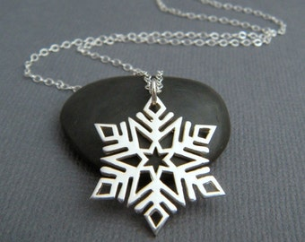 """large sterling silver snowflake necklace. snow flake charm. delicate petite. simple everyday jewelry dainty winter pendant gift for her 7/8"""""""