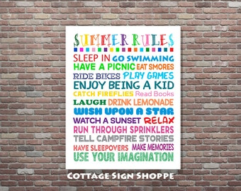 Summer Rules Sign,Summer Rules,Summer Decor,DIGITAL,YOU PRINT, 8 x 10, 11 x 14, 16 x 20 , Playroom Decor, Seasonal Decor, Seasonal Art