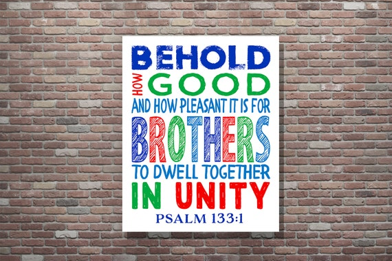 Brothers Wall Art, Childrens Scripture, Childrens Bible Verse, Psalm 133:1, Brothers Room Decor,Boys Room Decor, Christian Wall Art,Download