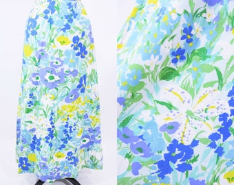 1970s skirt vintage 70s bright blue floral print high waist maxi skirt M W 27""