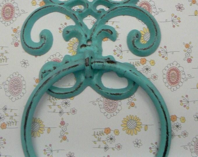 Fleur de lis Cast Iron Cottage Chic Beach Blue FDL Small Hand Towel Wall Holder Home Decor