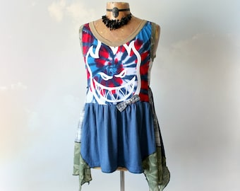 Funky Upcycle Top Bohemian Chic Shirt Reconstruct T-shirt Blue Women Tank Tie Dye Tunic Art Wear Ladies Eco Clothing Fun Clothes S M 'KELLY