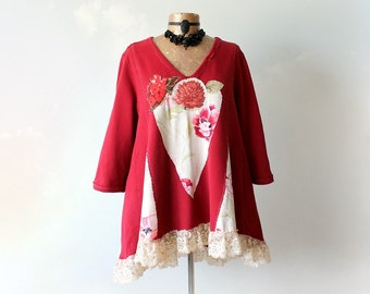 Plus Size Red Tunic A-Line Shirt Floral Appliques Artistic Clothes Bohemian Top Women's Eco Fashion Flared Swing Top V-Neck Jumper 2X 'TORI'
