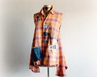 Upcycle Plaid Top Orange Flannel Shirt Grunge Clothes Denim Pocket Women's A-Line Tank Shabby Chic Tunic Lagenlook Clothing M L 'SLOANE'