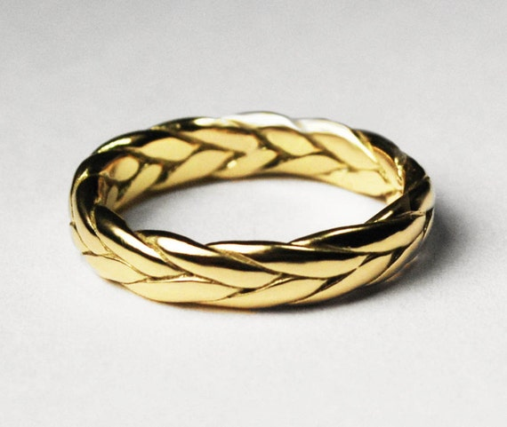 Thick 18k Gold Braid Ring- Solid Cast