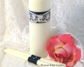 Navy Blue Unity Candle Set Wedding Candle Lace Unity Candle Bling Unity Candle Wedding Ribbon & Candle Color Choice Candle Stand Optional