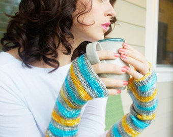 Portal Knitted Fingerless Gloves Arm Warmers Mittens