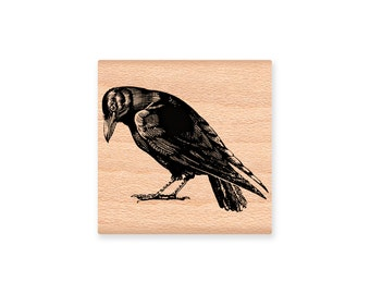 CROW Rubber Stamp~Halloween~Black Crow~North American Bird~Crafting and Card Making Supplies~Mountainside Crafts (34-31)