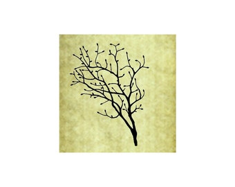 BUDDING BRANCH Rubber Stamp~Large Cling Stamp~Bare Branch~Branches~Spring or Fall~Christmas~Holiday~Thanksgiving~Autumn~Forest (53-13 )