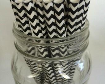 15 black & white cheveron paper straws party supplies wedding birthday