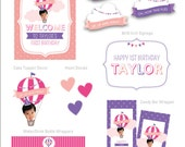 Hot Air Balloon Birthday, Pink and Purple Girl Hot Air Balloon Party, Your Custom Photo Design Collection Party Kit