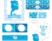 Ice Princess Silhouette Birthday, Your Custom Silhouette, Let It Go Princess Party, Frozen Birthday Party, Your Silhoute Party Kit