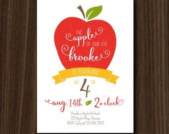 DIGITAL FILE Apple Invite Apple Invitation Autumn Apple of My Eye Birthday Fall Apple Birthday Invite