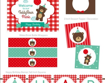 Teddy Bear Picnic Party Collection DIY Party Printables Party Kit INSTANT DOWNLOAD