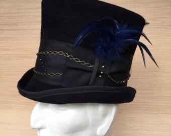 Top Hat, Black Felt Top Hat, Men's Top Hat, Women's Top Hat, Mad Hatter, Classic Top Hat, Alice in Wonderland