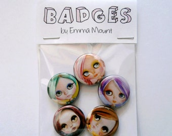 BLYTHE doll - button pin badges (5) set - illustrations