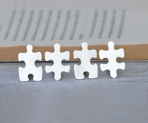 Jigsaw puzzle cufflinks in sterling silver with personalized message, handmade in the UK