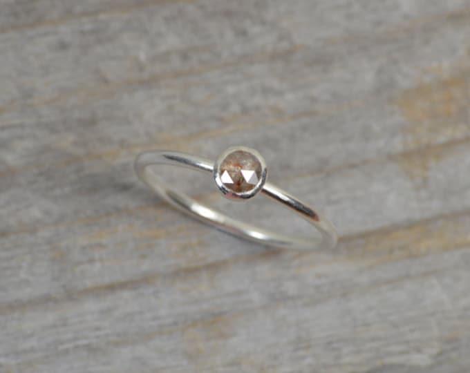 Rose Cut Diamond Engagement Ring, Diamond Stacking Ring Handmade In England