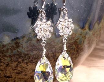 Bright Swarovski Crystal Earrings, Clear Flower Teardrop Dangle, Sterling Silver, Wedding Accessory, Bridal Jewelry, Bridesmaid Gift