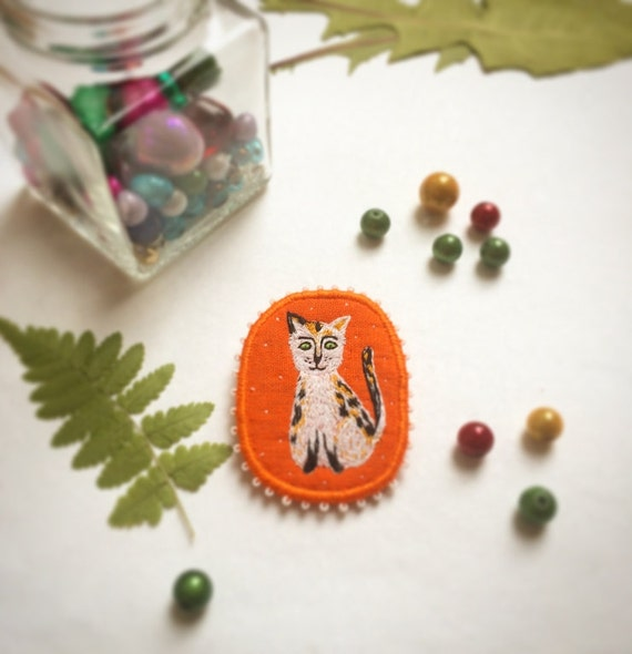 Textile Cat Brooch - Calico Cat Lucky, hand embroidered textile pet jewelry