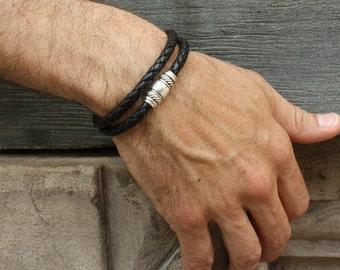Black Leather Bracelet / Mens Wrap Bracelet / Magnetic Braided Leather Bracelet / Taylor