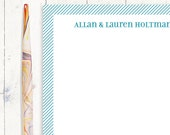 personalized notePAD - FINE DIAGONAL LINES - stationery - stationary - choose color