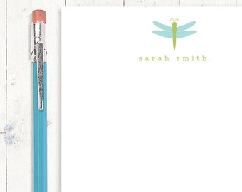 personalized notePAD - DRAGONFLY - stationery - stationary - insect - letter writing sheets