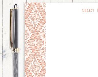 personalized notePAD - ART DECO DIAMONDS - stationery - stationary - letterhead - fancy