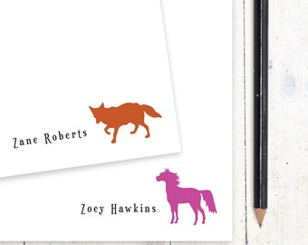 personalized notePAD - FOX or HORSE - stationery - stationary - choose color