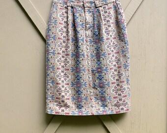 Boho vintage Southwestern Patterned Cotton Skirt
