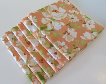 Cloth Napkins Reversible Peach Colored with Flowers