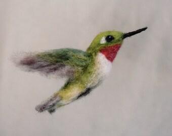 Needle Felted Hummingbird Life-Sized Wool Bird Ruby Throated