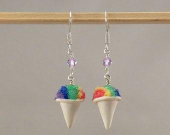 Miniature Food Rainbow Snowcone Earrings
