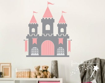 Castle Wall Decal - princess castle decal - medieval castle theme bedroom decoration - princess castle wall decal girl bedroom - fairytale