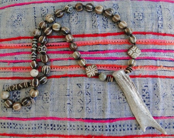 BATIK BONE Beads with ANTLER Necklace, boho, tribal, yoga