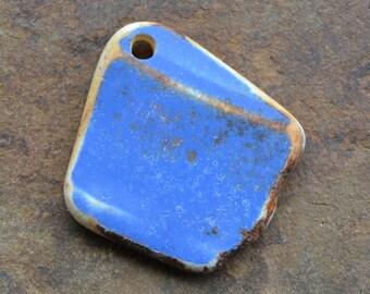 Genuine Beach Sea Pottery Drilled Pendant Rustic Blue