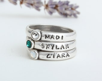 Stackable Birthstone Rings Stamped with Names.  Silver Stacking Birthstone Name Rings.  Stack Rings Stamped with Names. Perfect gift for Mom
