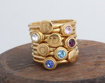 Mother's Initial Birthstone Ring Stack Rings in 24K Gold Vermeil.  Set of 8 Stacking Rings-4 Birthstone Stack Rings & 4 Initial Stack Rings.