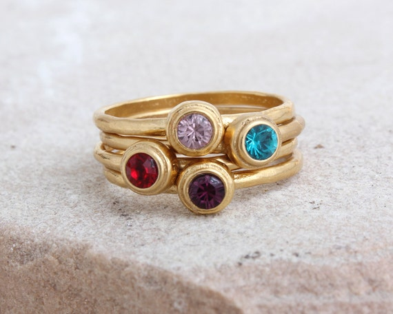 stacking birthstone rings in 24k gold vermeil by